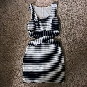 Navy blue striped bodycon dress / size small